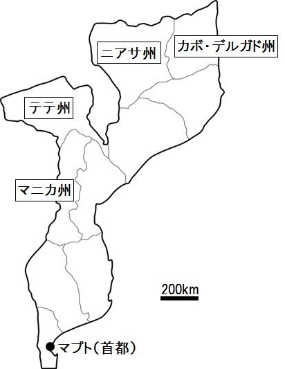 石炭ポテンシャルが機体される州の位置(モザンビーク)